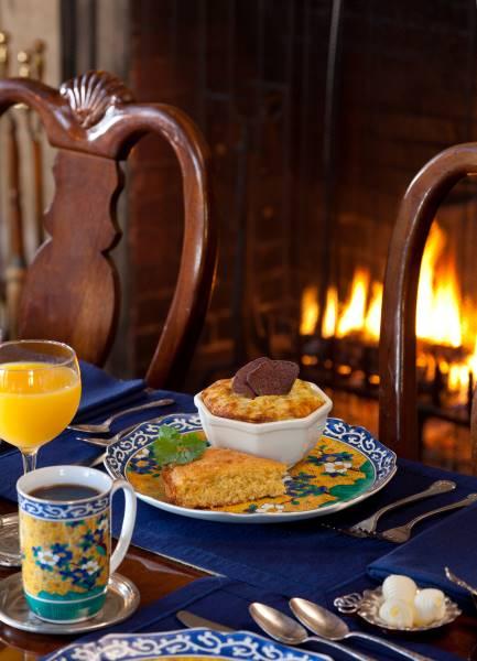 breakfast table in dining room old monterey inn boutique hotel & wedding venue, monterey california