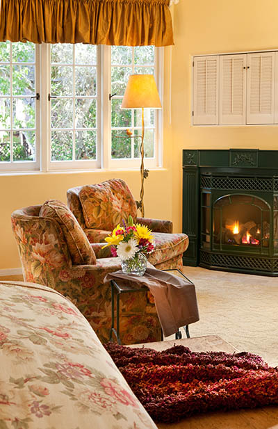 mayfield suite with bed and fireplace