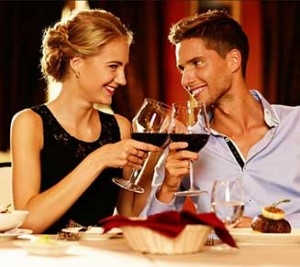 Wine, dinner couple