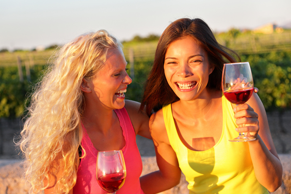 Two women wine tasting