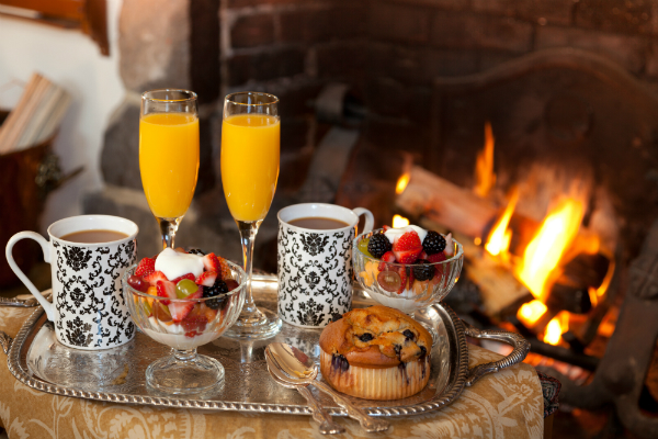 Breakfast by Fireplace
