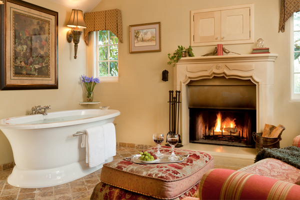 Wine by the Fireplace and Soaking Tub